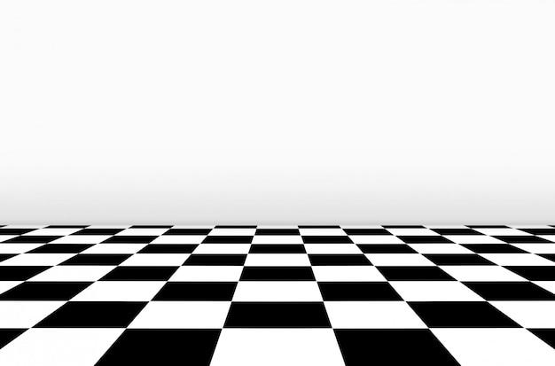 Vista em perspectiva do chão do tabuleiro de xadrez com fundo de parede cinza. Foto Premium