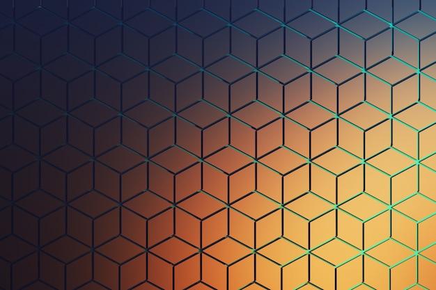 Vista frontal da superfície com padrão hexagonal em azul escuro e laranja. formas de hexágono feitas de formas de losango dispostas em padrão de repetição com sulcos azuis. Foto Premium