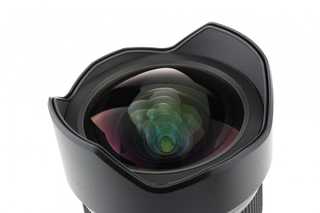 Vista frontal de lente de câmera de foto sobre fundo branco Foto Premium