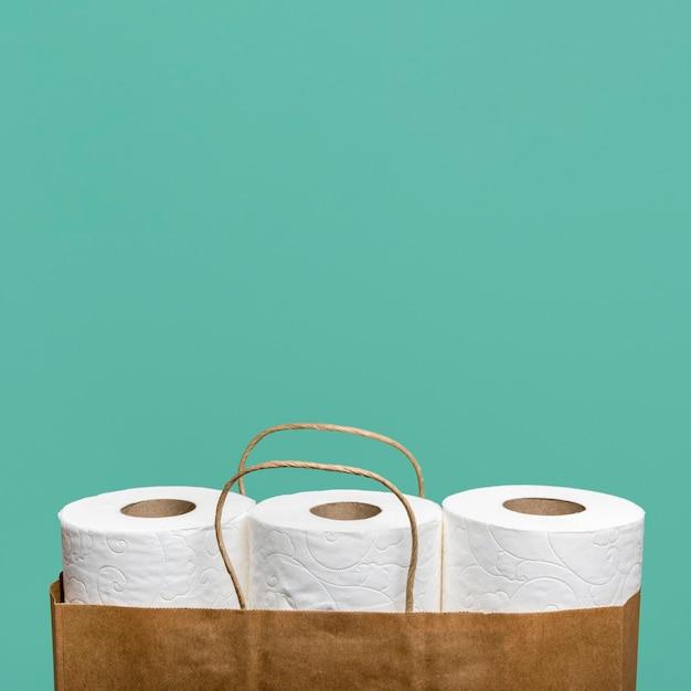 Vista frontal de três rolos de papel higiênico em saco de papel com espaço de cópia Foto gratuita
