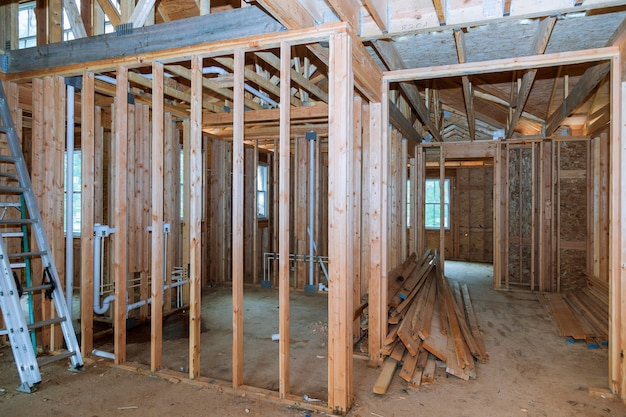 Vista interior, de, um, casa, construção Foto Premium