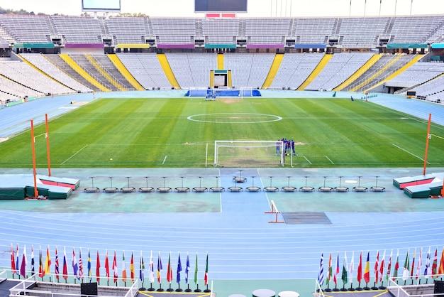 Vista Interior Do Estadio Olimpico Barcelona Espanha Foto Premium
