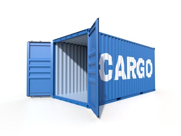 Vista lateral de contêiner de carga de navio com caixas de papelão Foto Premium
