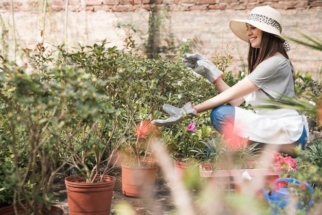Vista lateral, de, um, mulher feliz, examinando, plantas, em, estufa Foto gratuita