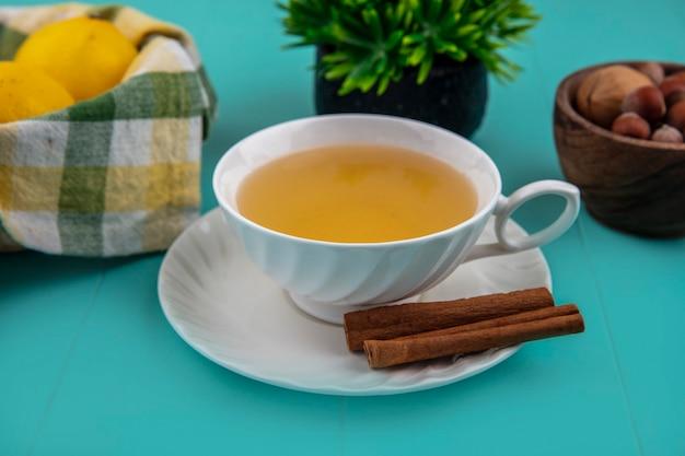 Vista lateral de uma xícara de toddy quente com canela no pires e limões com nozes no fundo azul Foto gratuita