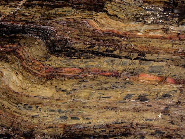 Vista macro de camadas estruturadas rocha. Foto Premium