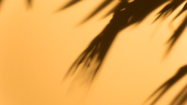 Vista panorâmica da folha escura turva no pano de fundo amarelo Foto gratuita