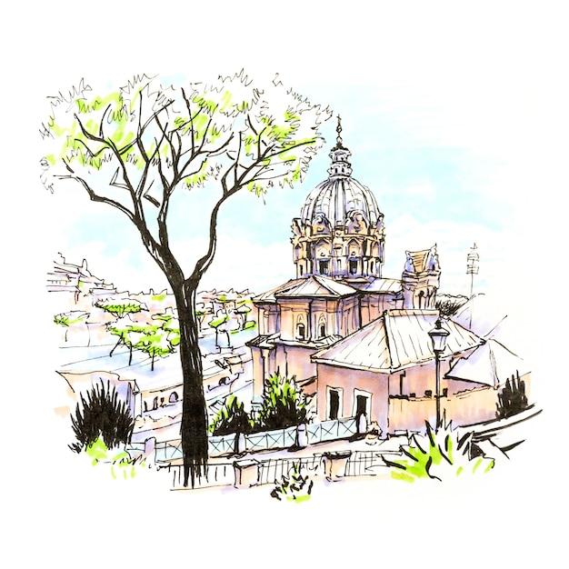Vista panorâmica da igreja romana típica e pinheiros de pedra na cidade velha de roma, itália. marcadores feitos de imagem Foto Premium