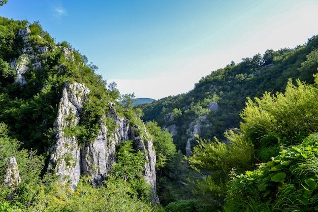 Vista panorâmica sobre a rocha. montanha no parque nacional dos lagos plitvice, croácia. europa. os melhores destinos da europa e vistas famosas. paisagem mágica. Foto Premium