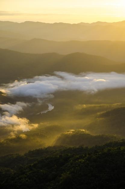 Vista para a montanha com luz quente do sol na vertical Foto Premium