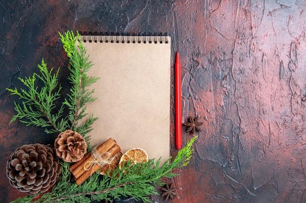 Vista superior caneta vermelha um caderno pinheiro galhos de árvore anis estrelados pinhas rodelas de limão secas na superfície vermelha escura lugar livre Foto gratuita