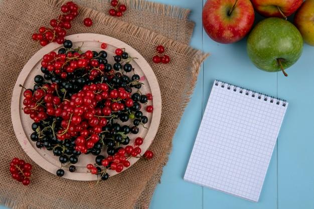 Vista superior cópia espaço vermelho com groselha preta num prato num guardanapo bege com um notebook sobre um fundo azul claro Foto gratuita