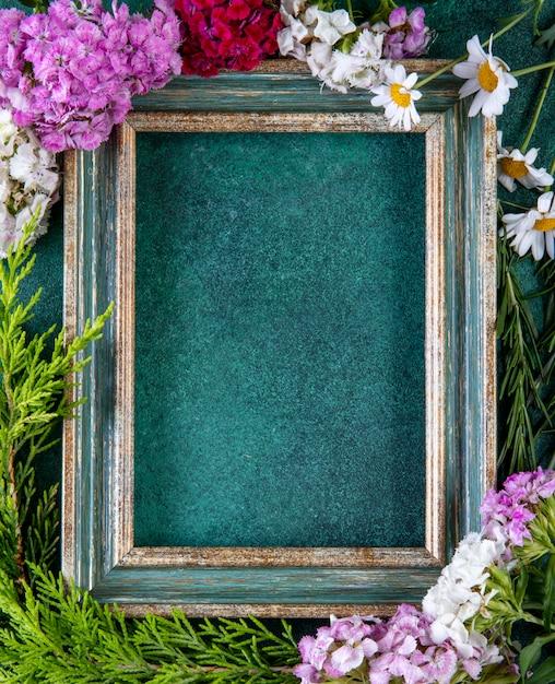 Vista superior copiar espaço verde-ouro quadro com ramos de abeto e flores coloridas nas bordas em verde Foto gratuita