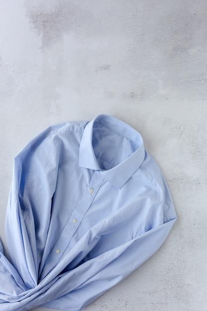 Vista superior da camisa azul elegante Foto Premium