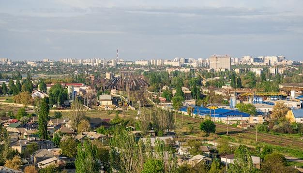 Vista superior da zona industrial de odessa, ucrânia Foto Premium