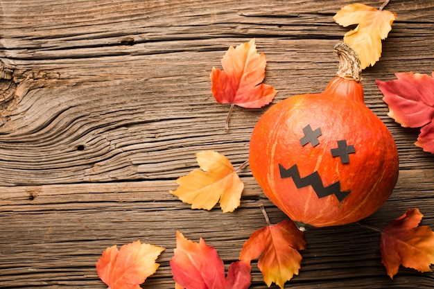 Vista superior de abóbora de halloween e folhas de outono Foto gratuita