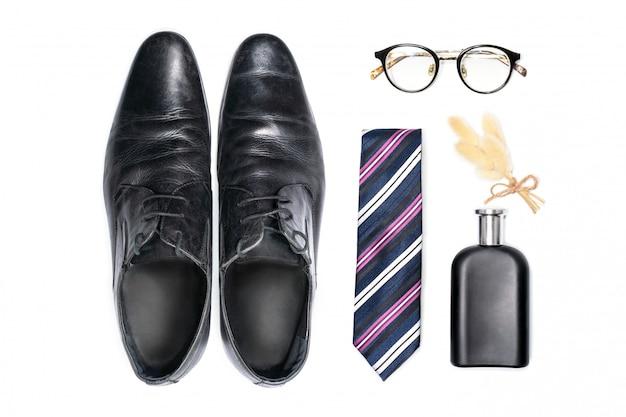 Vista superior de acessórios de moda para cavalheiro. Foto Premium
