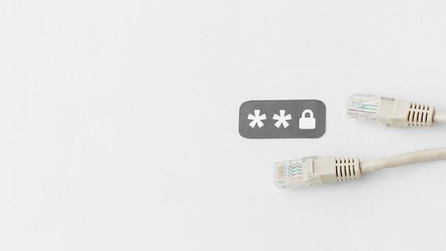 Vista superior de cabos ethernet com cópia espaço e senha Foto Premium