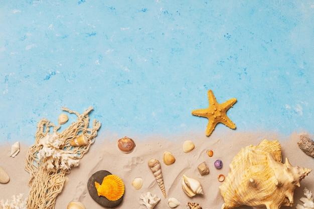 Vista superior de conchas e estrelas do mar na praia Foto Premium
