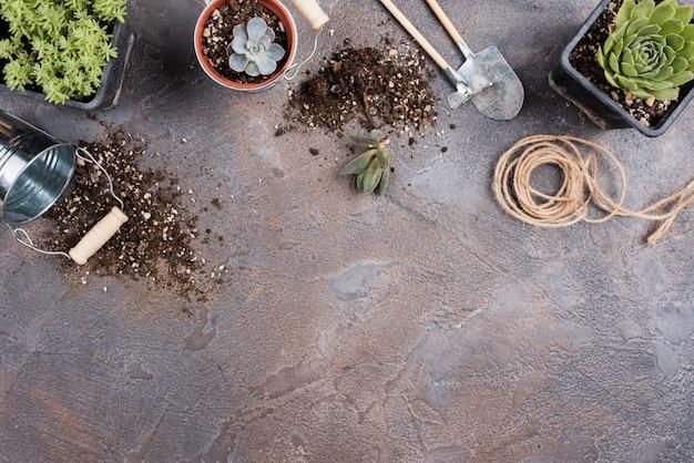 Vista superior de ferramentas de jardinagem com espaço de cópia Foto gratuita