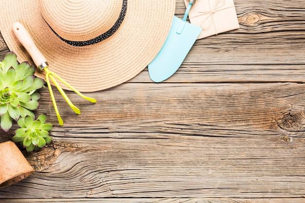 Vista superior de ferramentas de jardinagem no chão de madeira Foto gratuita
