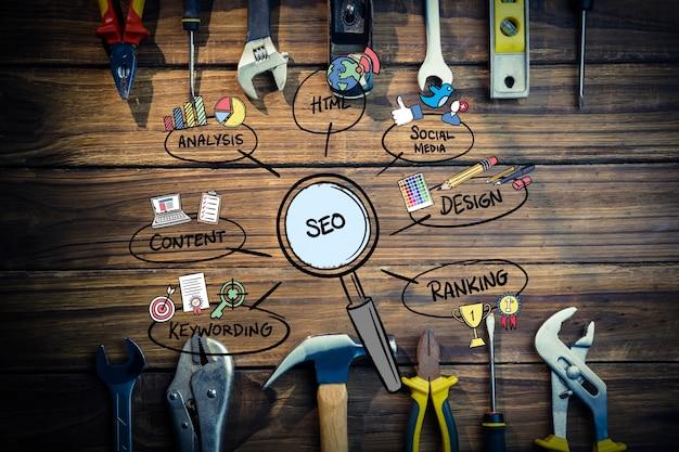 Vista superior de ferramentas de marketing Foto gratuita