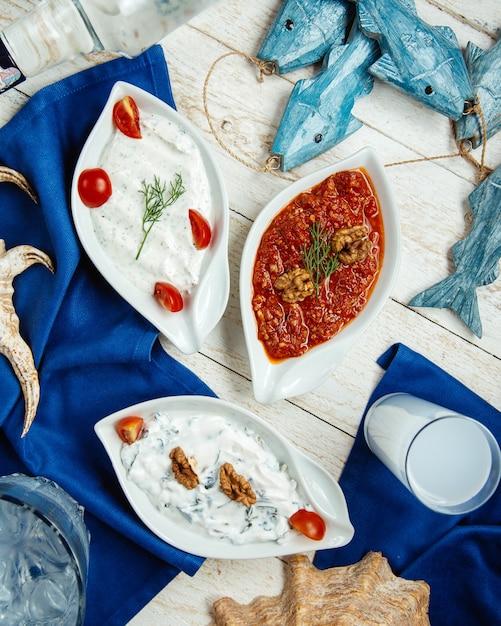 Vista superior de pratos de pratos turcos e raki turco Foto gratuita