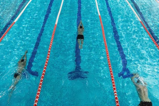 Vista superior de três nadadores masculinos Foto gratuita