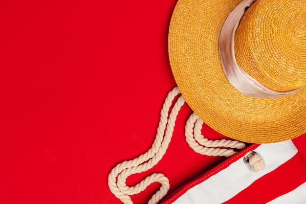 Vista superior, de, verão, sacola praia Foto Premium