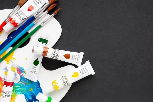 Vista superior do aquarelle com cópia-espaço Foto Premium