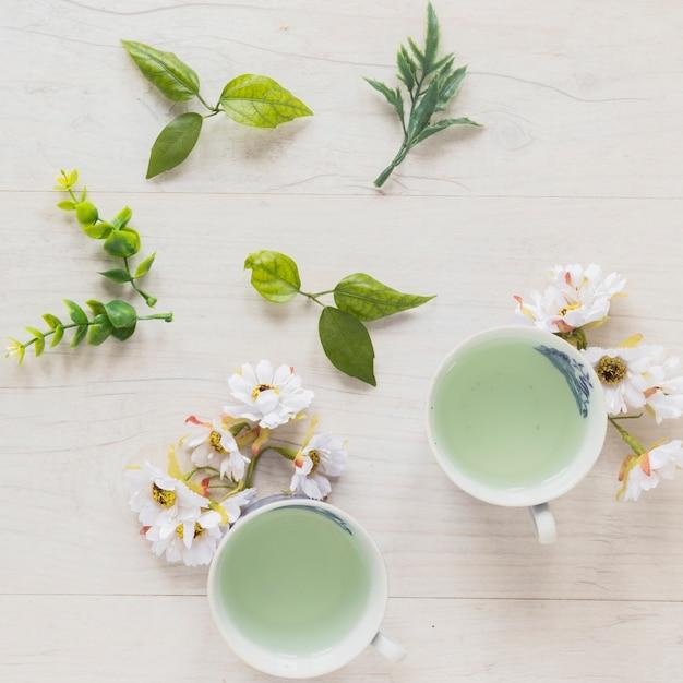 Vista superior do chá verde em xícaras com folhas e flores frescas Foto gratuita