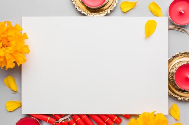 Vista superior do conceito de diwali com espaço de cópia Foto gratuita