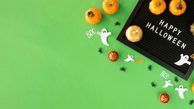 Vista superior do conceito de halloween com espaço de cópia Foto gratuita
