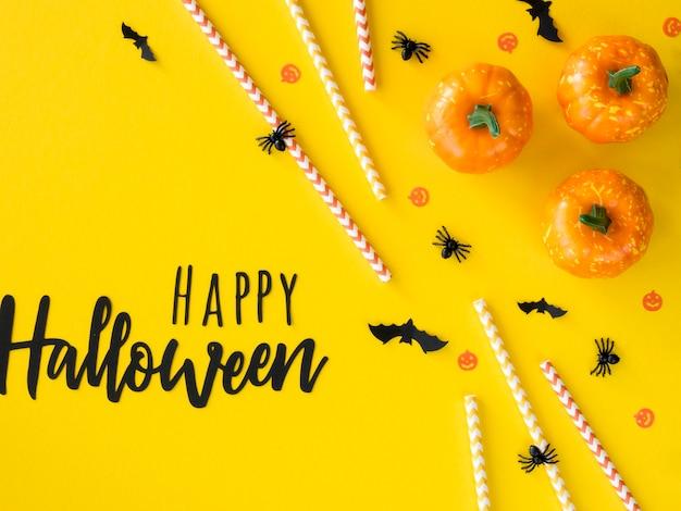 Vista superior do conceito de halloween com saudação Foto gratuita