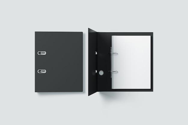 Vista superior do design da pasta de fichário preta em branco Foto Premium
