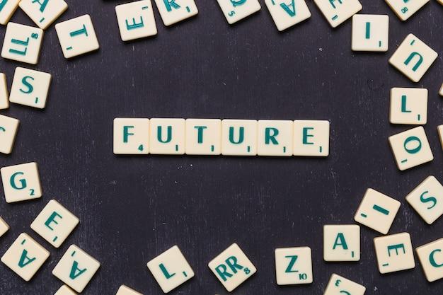 Vista superior do futuro texto feito de cartas de jogo scrabble Foto gratuita