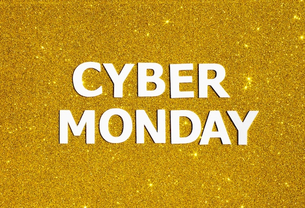 Vista superior do glitter dourado para cyber segunda-feira Foto Premium