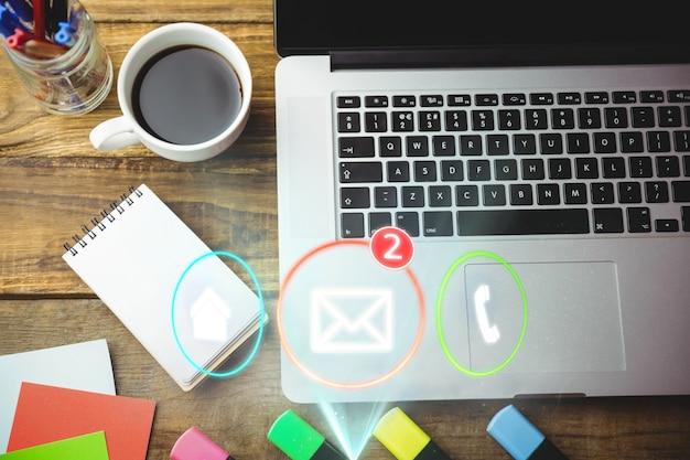 Vista superior do ícone de e-mail com duas mensagens Foto gratuita