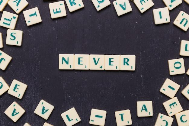 Vista superior do nunca texto com letras scrabble sobre pano de fundo preto Foto gratuita