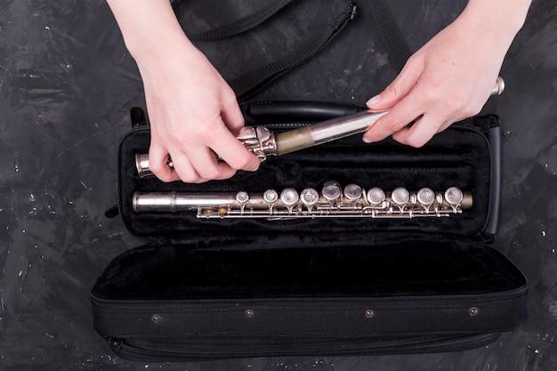 Vista superior do saco para flauta Foto gratuita