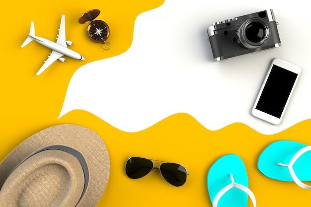 Vista superior dos acessórios do viajante no fundo da mesa amarelo Foto Premium