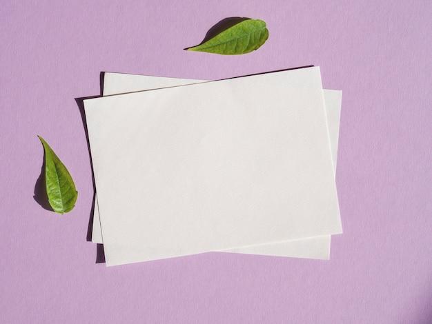 Vista superior em branco papéis com folhas verdes Foto gratuita
