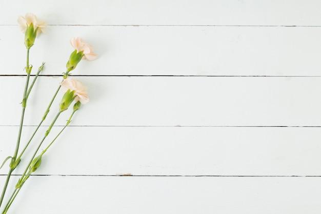 Vista superior flores sobre fundo de madeira com espaço de cópia Foto gratuita