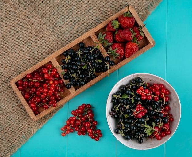 Vista superior groselha vermelha e preta com morangos, sobre um fundo azul Foto gratuita
