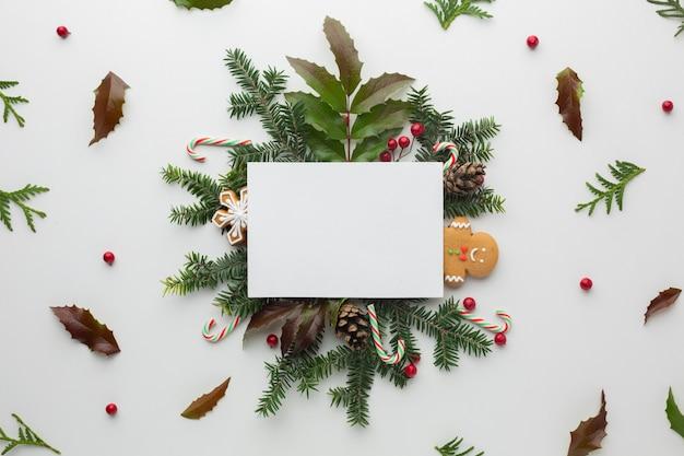 Vista superior maquete de decoração de natal Foto gratuita
