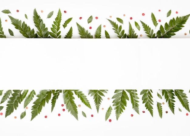 Vista superior tropical verde folhas com espaço de cópia Foto gratuita