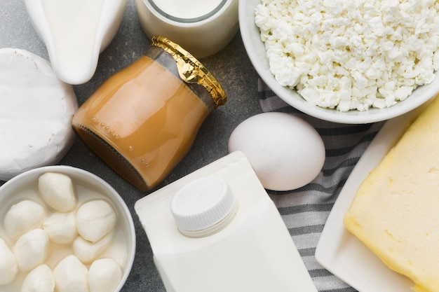 Vista superior variedade de queijo fresco e leite Foto gratuita