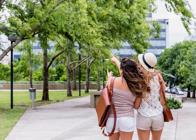Vista traseira, de, dois, femininas, turista, ficar, parque, apontar, algo Foto gratuita
