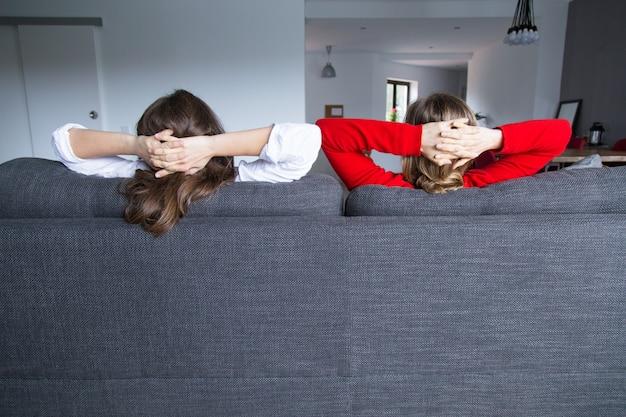 Vista traseira, de, femininas, companheiros de quarto, relaxante, ligado, sofá Foto gratuita