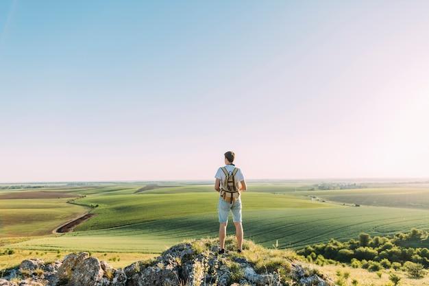 Vista traseira, de, macho, hiker, com, mochila, olhar, verde, rolando, paisagem Foto gratuita
